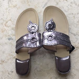 Charlie Paige Metallic Silver Thong Sandals Size 8